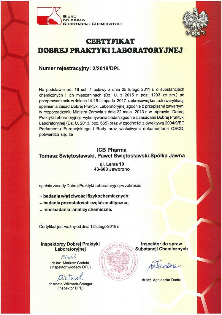 Certyfikat DLP_2018 - zdjęcie certyfikatu