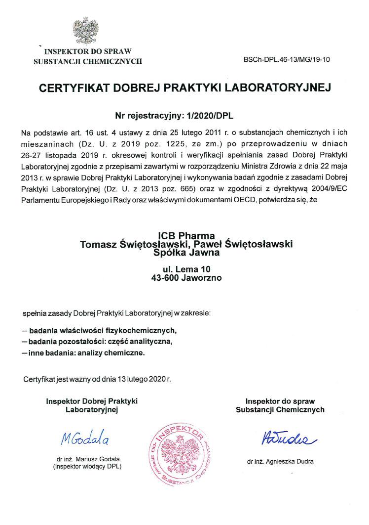Certyfikat DLP_2020 - zdjęcie certyfikatu