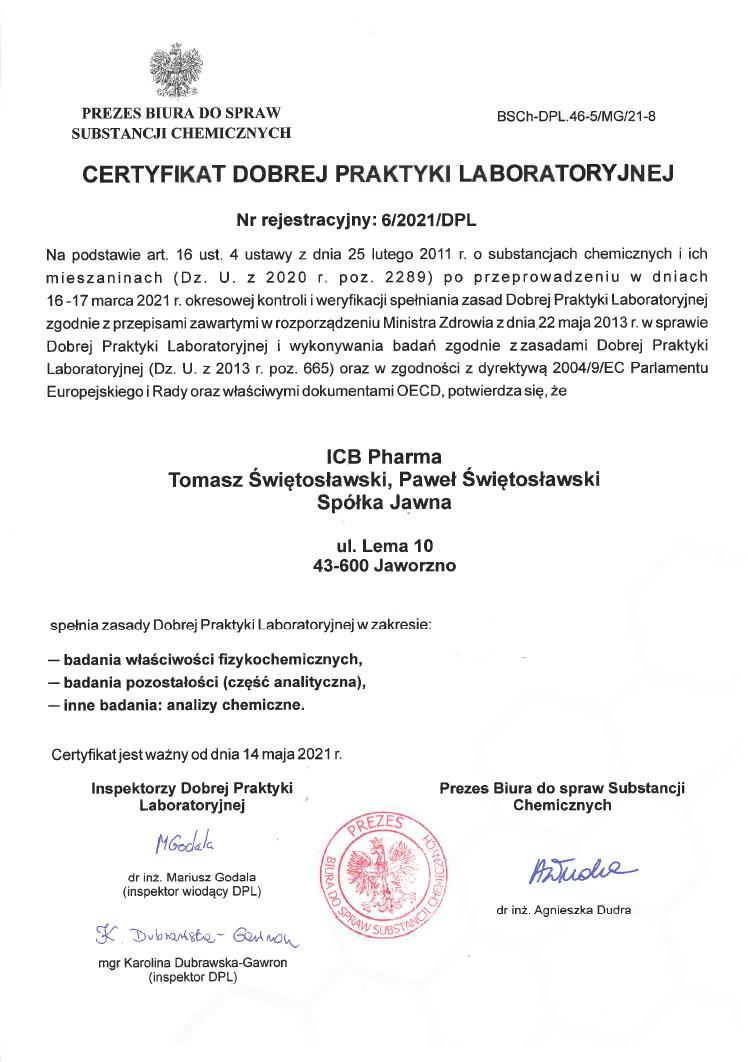 Certyfikat DLP_2021 - zdjęcie certyfikatu