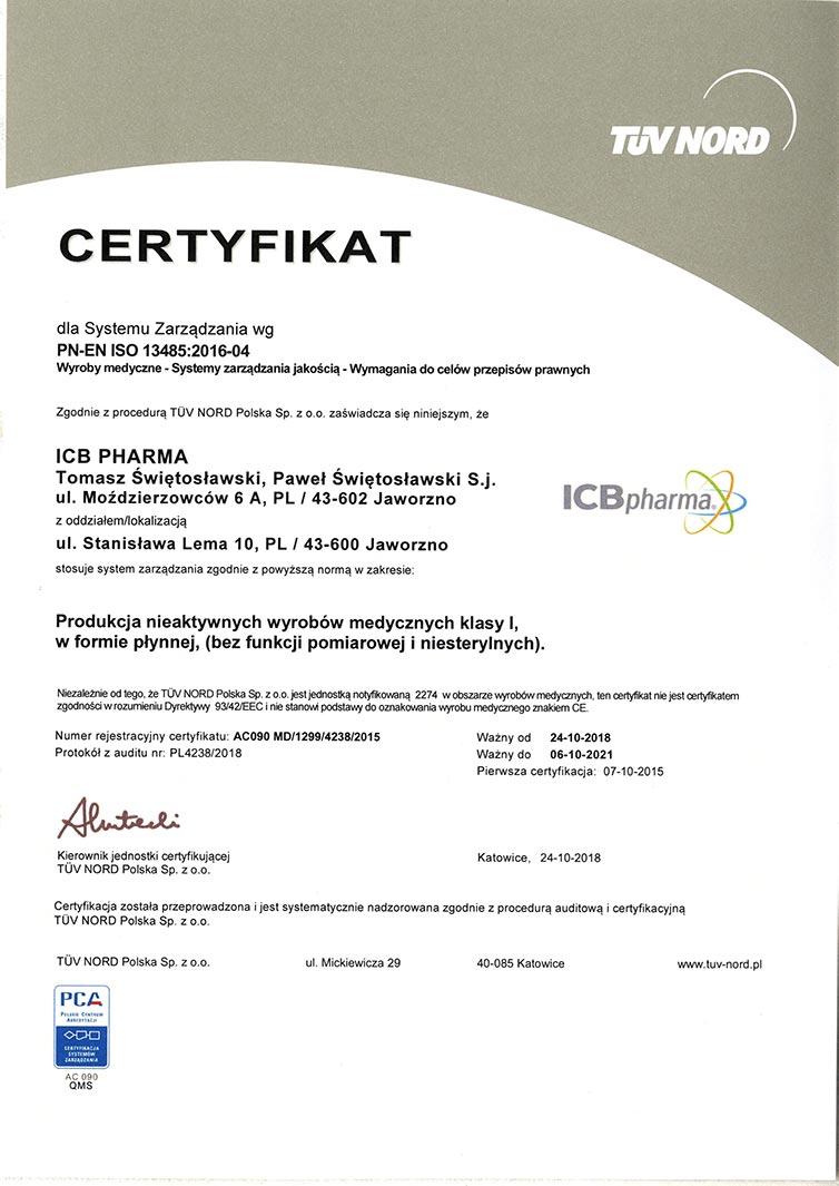 Certyfikat PN-EN ISO 13485:2016-04