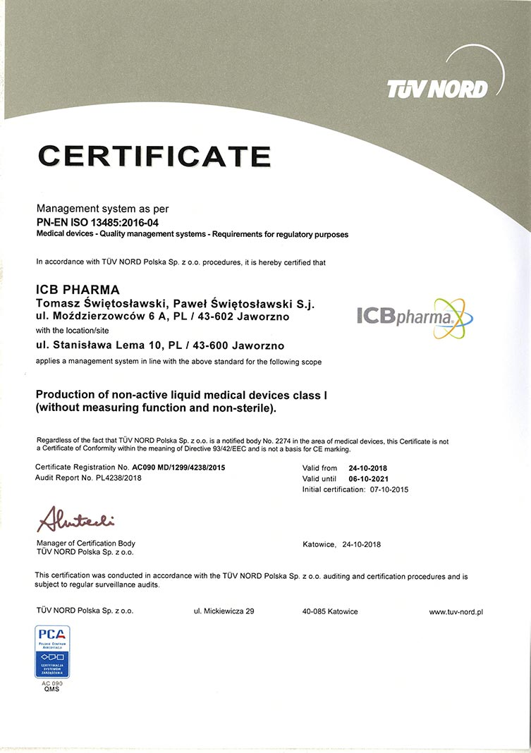 Certificate PN-EN ISO 13485:2016-04