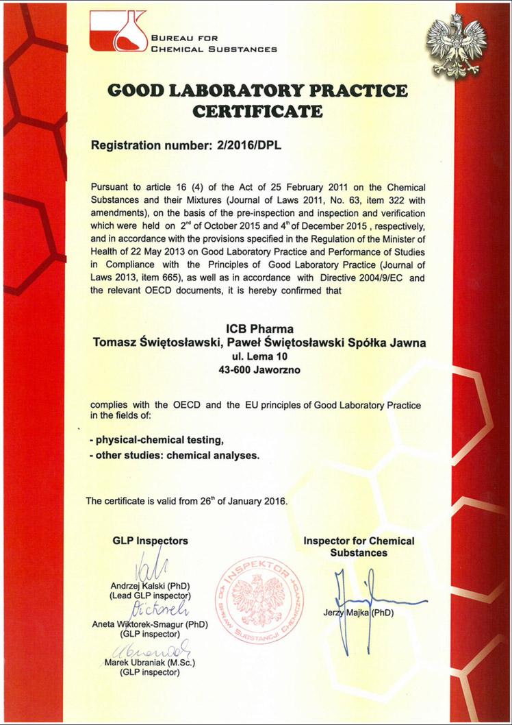 Certyfikat Dobra Praktyka Laboratoryjna