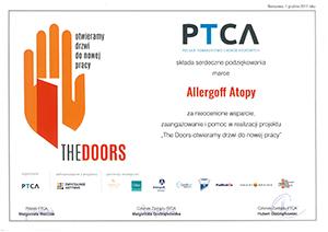 Podziękowania PTCA - skan dokumentu